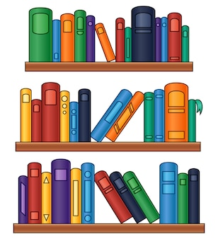 Vector illustration of Bookshelf with colorful books