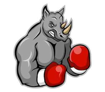 Vector illustration of boxer rhinoceros