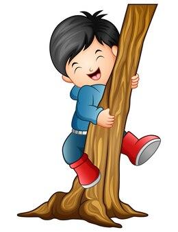 木を登る少年のベクトル図