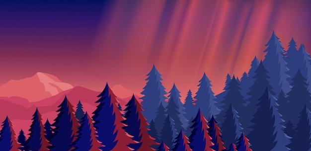 ピンクとブルーの色のオーロラと明るい夜空の山の風景のベクターイラストです。登山のコンセプト、旅行、世界探索。