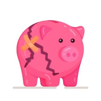 흰색 바탕에 깨진된 돼지 저금통의 벡터 일러스트 레이 션. 깨진 돼지 저금통 돈 절약기. 돼지, 저축 돈, 아이콘입니다.