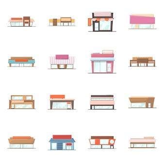 Векторная иллюстрация здания и знак супермаркета. коллекция строительного и рыночного набора