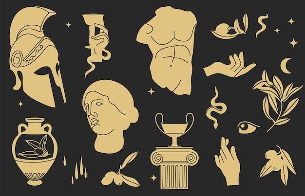 Векторная иллюстрация связки античных знаков и символов статуй, оливковой ветви, амфоры, колонны, шлема. элементы древнегреческого или римского стиля.