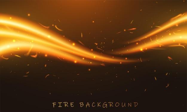 Векторная иллюстрация горящего пламени огня на черном фоне