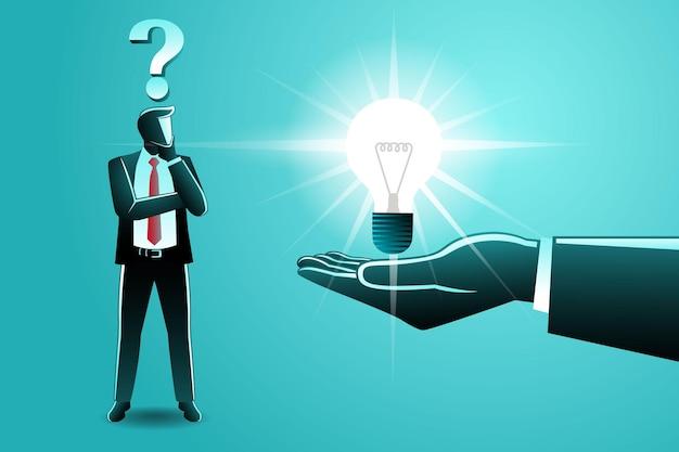 Векторная иллюстрация бизнес-концепции, большая рука дает лампочку идеи смущенному бизнесмену