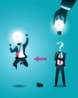 Векторная иллюстрация бизнес-концепции, большая рука положила лампочку в голову бизнесмена