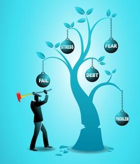 Векторная иллюстрация бизнес-концепции, бизнесмен рубит плохое дерево со многими проблемами