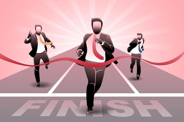 Векторная иллюстрация бизнес-концепции, бизнесмен, пересекающий финишную черту в гонке