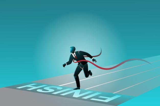 Векторная иллюстрация бизнес-концепции, бизнесмен пересекает финишную черту