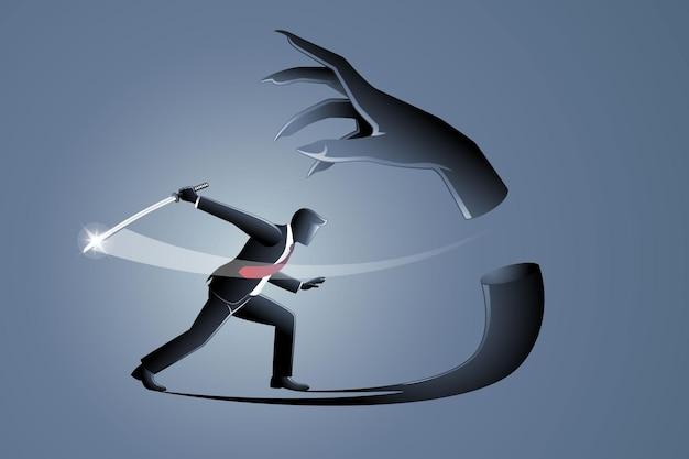 비즈니스 개념의 벡터 그림, 사업가는 칼로 자신의 사악한 그림자를 자른다