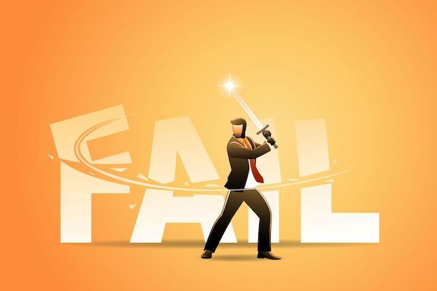 Векторная иллюстрация бизнес-концепции, бизнесмен, резка большой неудачи слово с мечом