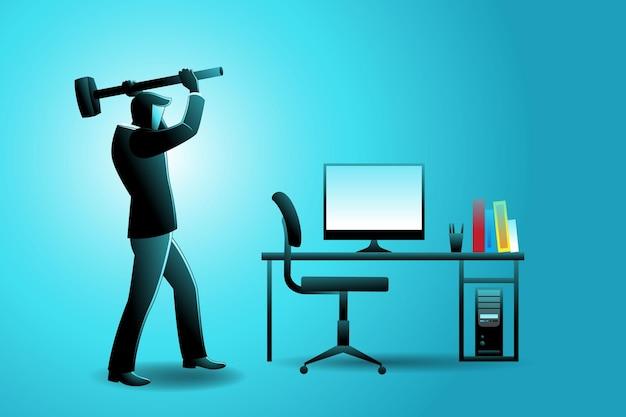Векторная иллюстрация бизнес-концепции, бизнесмен уничтожает компьютер молотком Premium векторы