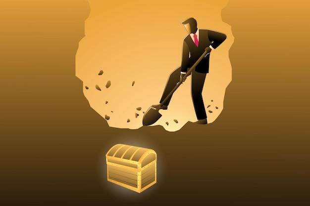 Векторная иллюстрация бизнес-концепции, бизнесмен копает, чтобы найти сокровище