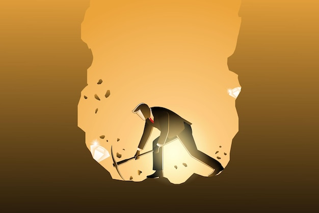 Векторная иллюстрация бизнес-концепции, бизнесмен копает с киркой, чтобы получить алмаз