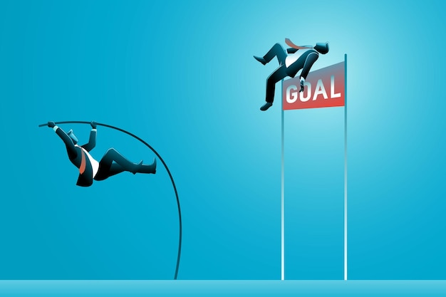 비즈니스 개념의 벡터 일러스트 레이 션, 높은 목표 목표에 장대 높이뛰기를 하는 사업가