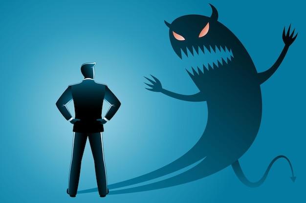 ビジネスコンセプトのベクトル図、後ろから見たビジネスマンは彼自身の邪悪な影に直面します。