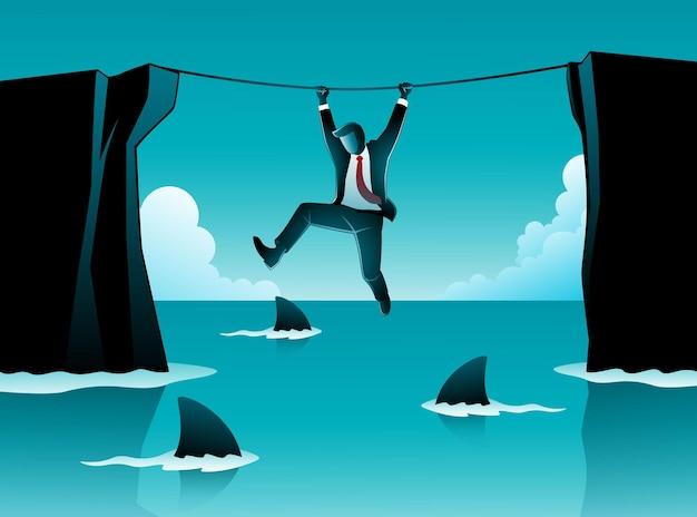 Векторная иллюстрация бизнес-концепции, бизнесмен висит на веревке над акулами