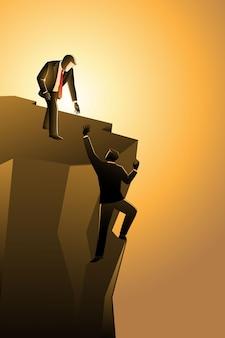 Векторная иллюстрация бизнес-концепции, бизнесмен помогает своему другу вытащить из края пропасти