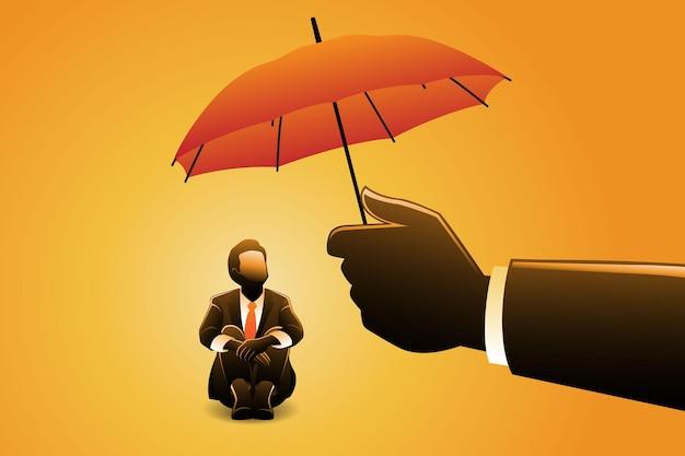 Векторная иллюстрация бизнес-концепции, бизнесмен обнять колени, защищенный гигантской рукой под зонтиком