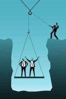 Векторная иллюстрация бизнес-концепции, бизнесмен, поднимающий своих партнеров со скалы с помощью шкива