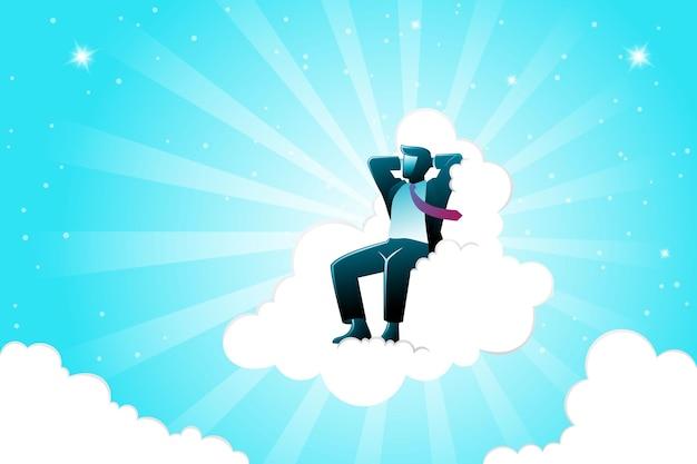 Векторная иллюстрация бизнес-концепции, бизнесмен расслабляющий на облаке