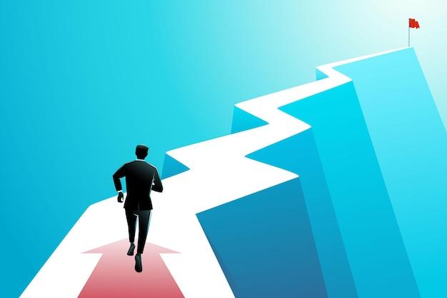 Векторная иллюстрация бизнес-концепции, бизнесмен, бегущий по извилистой дороге, чтобы достичь флага