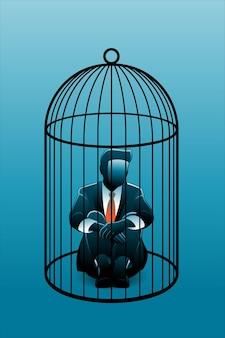 ビジネスコンセプトのベクトル図、膝を抱きしめながら鳥かごに座っているビジネスマン