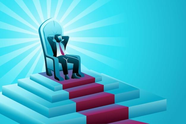 Векторная иллюстрация бизнес-концепции, бизнесмен, сидящий на троне
