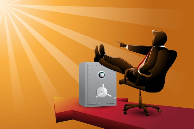 비즈니스 개념의 벡터 그림, 빛을 가리키는 동안 발을 위로 올려놓고 앉아 있는 사업가