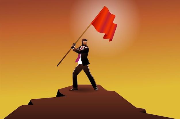 Векторная иллюстрация бизнес-концепции, бизнесмен, стоя на пике обрыва, держа красный флаг