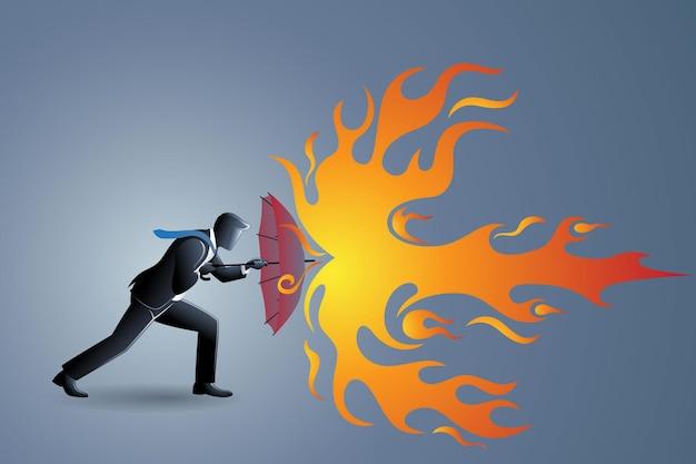 Векторная иллюстрация бизнес-концепции, бизнесмен использует зонтик для защиты от огненных брызг