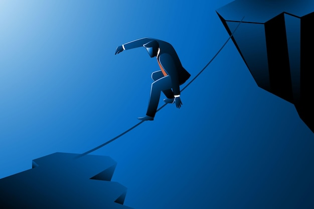 Векторная иллюстрация бизнес-концепции, бизнесмен, идущий по веревке через скалы Premium векторы