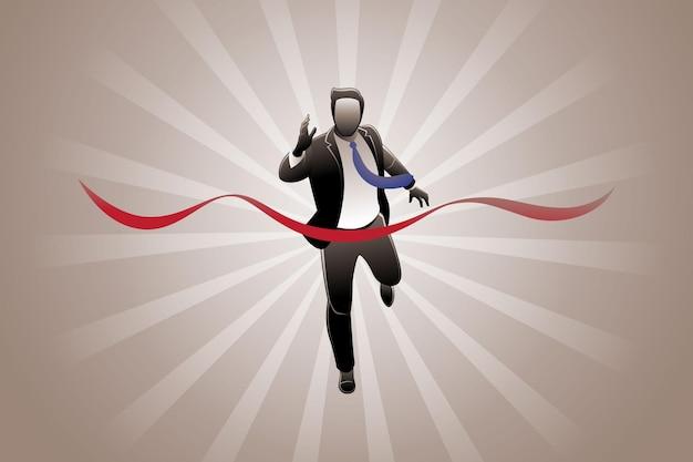 Векторная иллюстрация бизнес-концепции, бизнесмен, выигравший гонку в бизнесе
