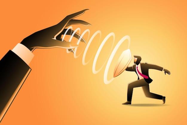 비즈니스 개념의 벡터 삽화, 방패를 든 사업가는 거대한 악의 손에서 최면을 걸었다