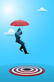 Векторная иллюстрация бизнес-концепции, бизнесмен с зонтиком, направленный на цель