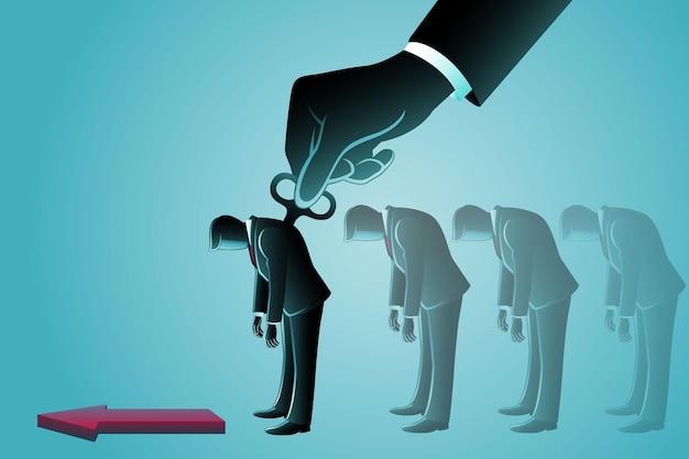 Векторная иллюстрация бизнес-концепции, бизнесмен с намотчиком на спине, контролирующий гигантской рукой