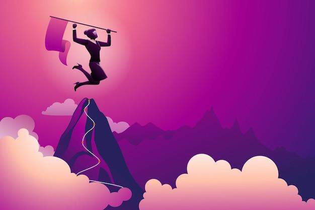 비즈니스 개념의 벡터 그림, 여성 사업가는 자신의 성공을 축하하는 산 꼭대기에서 깃발을 들고 있다