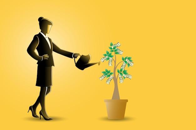 비즈니스 개념의 벡터 일러스트 레이 션, 그녀의 돈 나무에 물을 사업가