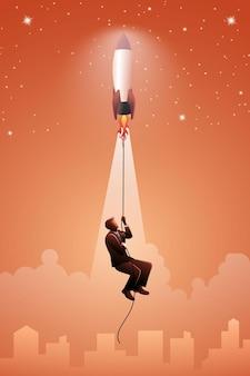 ビジネスコンセプトのベクトル図、ロープにぶら下がっているビジネスマンとロケット発射