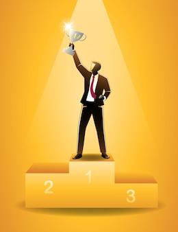 Векторная иллюстрация бизнес-концепции, успешный бизнесмен поднять трофей на подиуме