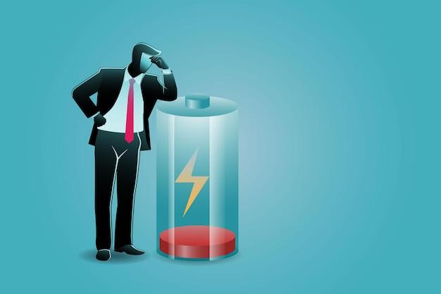 Векторная иллюстрация бизнес-концепции, усталый бизнесмен опирается на низкий заряд батареи