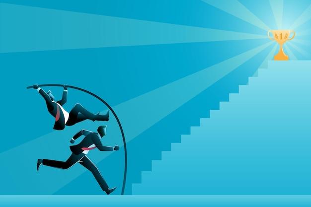 비즈니스 개념의 벡터 그림, 두 사업가는 계단 꼭대기에서 트로피에 도달하기 위해 경쟁합니다.