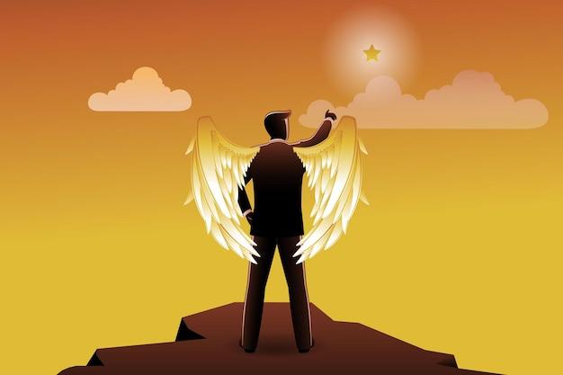Векторная иллюстрация бизнес-концепции, крылатый бизнесмен на вершине скалы, указывая на звезду