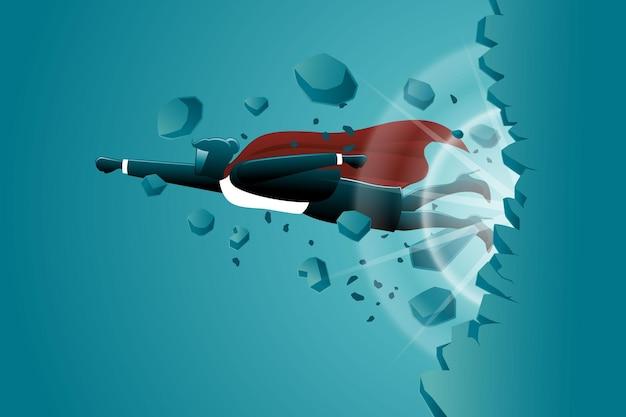 Векторная иллюстрация бизнес-концепции, крылатый бизнес-леди, летающий прорваться сквозь стену