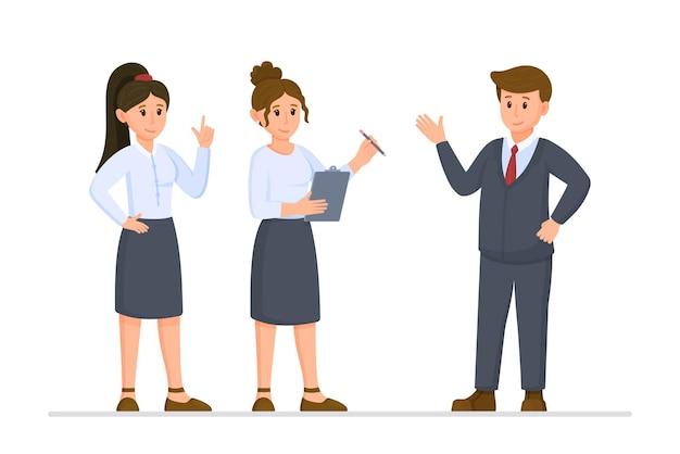 ビジネスミッションのベクトルイラスト。職務遂行能力。オフィスで働きます。好きなビジネス。上司の話を聞いている2人の女の子。制服を着てください。白い背景で隔離。
