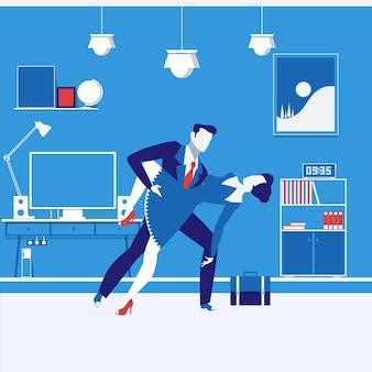 ビジネスパートナーの男性と女性のフラットデザインのベクトル図