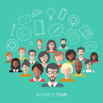 フラットスタイルのビジネスチーム管理のベクトル図です。
