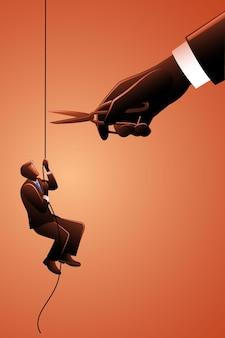 Векторная иллюстрация бизнесмена, взбирающегося на веревку, в то время как гигантская рука режет веревку ножницами