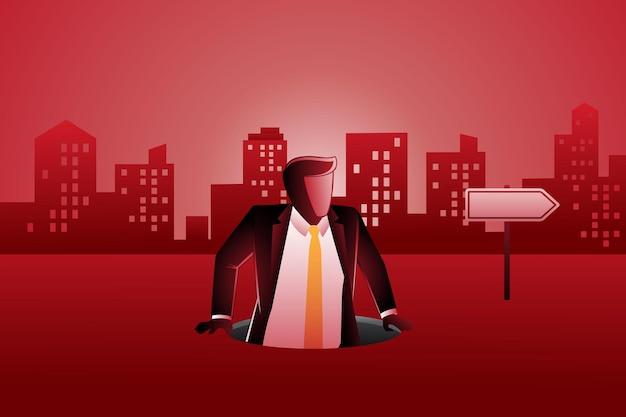 Векторная иллюстрация бизнесмена, вылезающего из круглого отверстия на фоне зданий