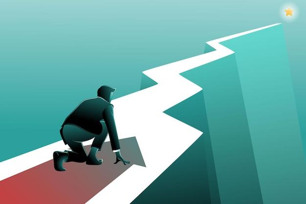 Векторная иллюстрация бизнесмена готовиться к запуску к цели бизнеса в стартовом положении, готовом к спринту